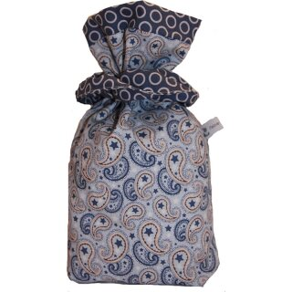 Geschenkbeutel Verpackung aus Stoff in Paisley blau