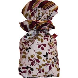 Geschenkbeutel Verpackung aus Stoff Blätter in wine, olive und schwarz