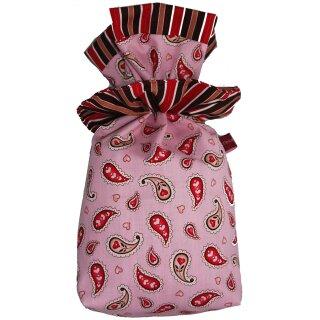 Geschenkbeutel Verpackung aus Stoff Paisley Herz auf rosa