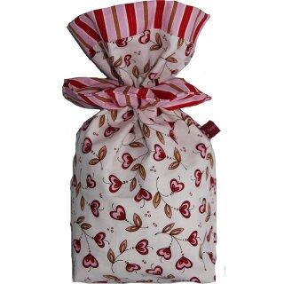 Geschenkbeutel Verpackung aus Stoff Herzblume auf weiß