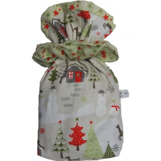 Geschenkbeutel Nikolaussäckchen Verpackung aus Stoff Reh grün-silber