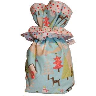 Geschenkbeutel Nikolaussäckchen Verpackung aus Stoff Reh blau-weiß