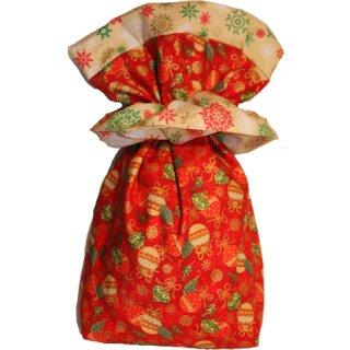 Geschenkbeutel Nikolaussäckchen Weihnachtskugel rot-gold