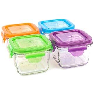 weangreen Snack Cubes Glasbehälter Garden Pack 4er-Set/210 ml