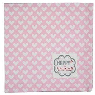 Krasilnikoff Stoffserviette 40x40 cm Herz rosa-weiß