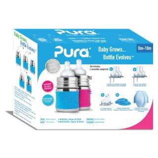 Purakiki Geschenkset Babyflasche 125 ml mit Silikon-Sleeve und Sauger