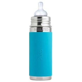 Purakiki Isolierte Babyflasche 260 ml mit Silikon-Sleeve