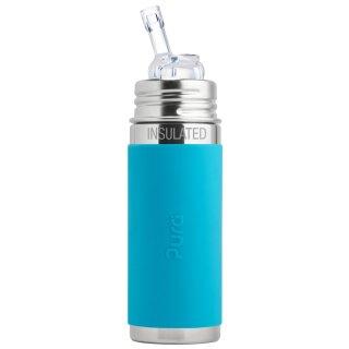 Purakiki Isolierte Trinkflasche mit Sippy Trinkhalm 260 ml mit Silikon-Sleeve