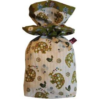 Geschenkbeutel Verpackung aus Stoff Elefant oliv