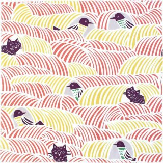 Furoshiki Tuch Cohare Cats & Birds Pink 45x45 cm
