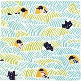 Furoshiki Tuch Cohare Cats & Birds Green 45x45 cm