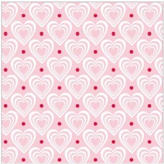 Krasilnikoff Stoffserviette 40x40 cm 3D Hearts pink-white